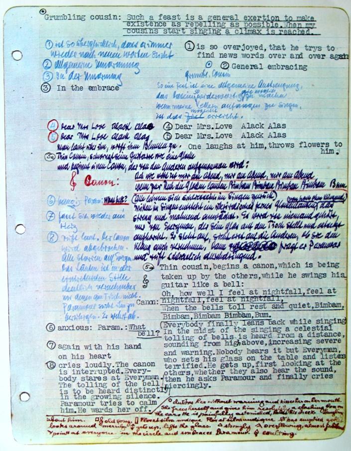 Reinhardt's promptbook for Hofmannsthal's Everyman (Jedermann), Hollywood, Jan. 25-Feb 7, 1940