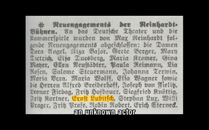 Lubitsch's contract with Reinhardt.