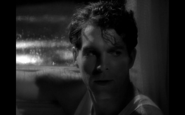 Chiaroscuro lighting and coiffure combine for a brooding matinee idol look, something McMurray and his handlers would soon forsake. What he embodies was a wise-cracking regular joe. But that's not how Liesen saw him or at least not only how he showed McMurray to us here.