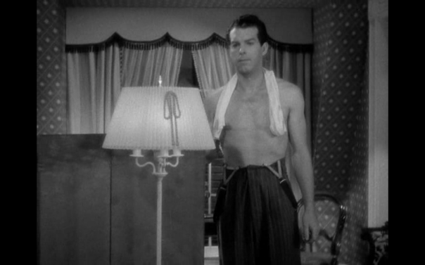 He's on physical display, more undressed and in more and different states of undress than Lombard, and something relatively unusual for male stars of  this period.